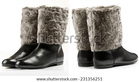Black winter boots for men isolated on white background