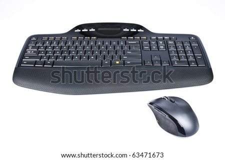Black Wireless Computer Keyboard and Mouse Isolated on White - stock photo