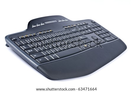 Black Wireless Computer Keyboard Isolated on White