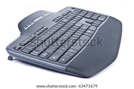 Black Wireless Computer Keyboard Isolated on White - stock photo