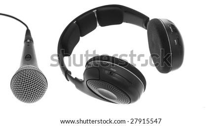 Black wireless headphones and Microphone. Top Angle View. Isolated on white.