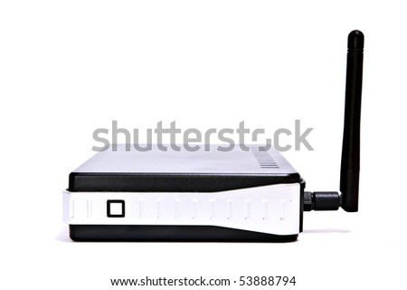 Black wireless internet router in isolated white background