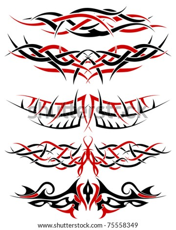 Black with red patterns of tribal tattoo for design use - stock photo