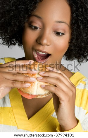 Black Woman Eating Hamburger