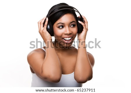 black woman listening to music isolated over a white background