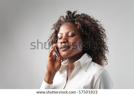 black woman  on the phone - stock photo
