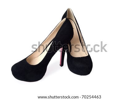 Black woman shoes on a white background - stock photo