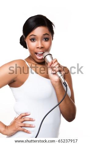 Black Woman Singing on white - stock photo