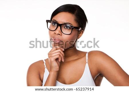 Black woman thinking wearing glasses on white - stock photo