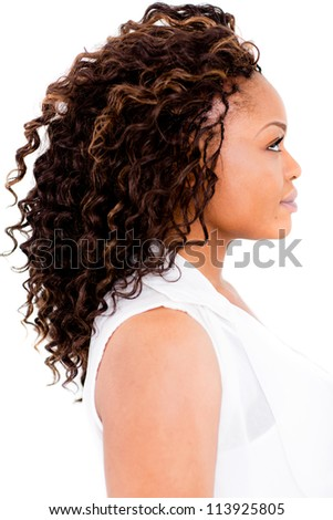 Black woman with an afro - isolated over a white background