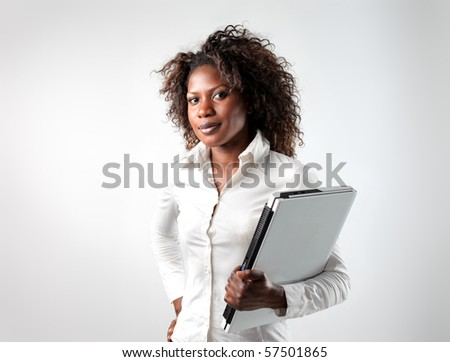 black woman with laptop - stock photo