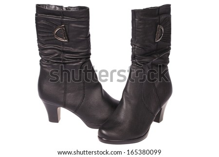 Black women's boots isolated on white background. Clipping path included.