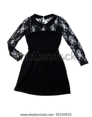 Black women's fashion dress on white background - stock photo