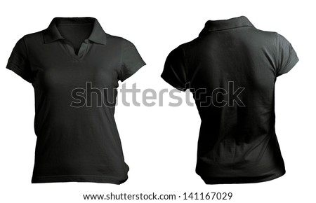 Black women's polo shirt, front and back design isolated on white - stock photo