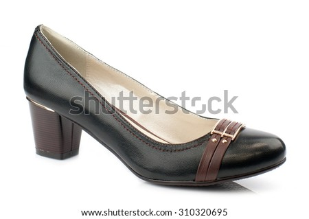 Black women shoe isolated on white background.