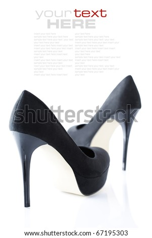 Black women shoes isolated on white background with sample text - stock photo