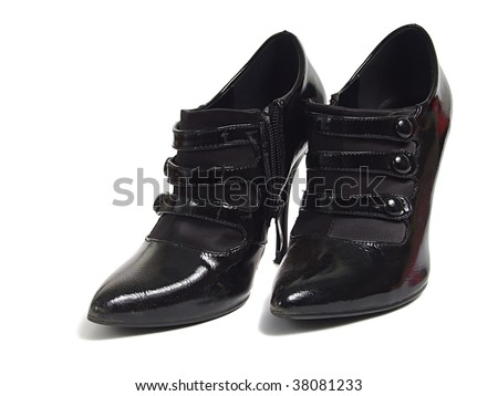 Black women shoes over white