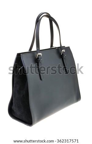 Black womens bag isolated on white background. - stock photo