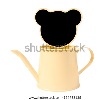 Black wood clip and watering can isolated on white background, clipping path. - stock photo