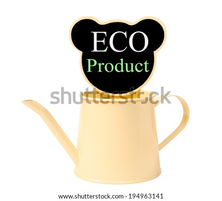 Black wood clip and watering can isolated on white background, clipping path. Eco Product - stock photo