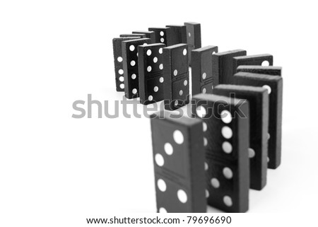 black wood domino, Black wooden domino line curve. - stock photo