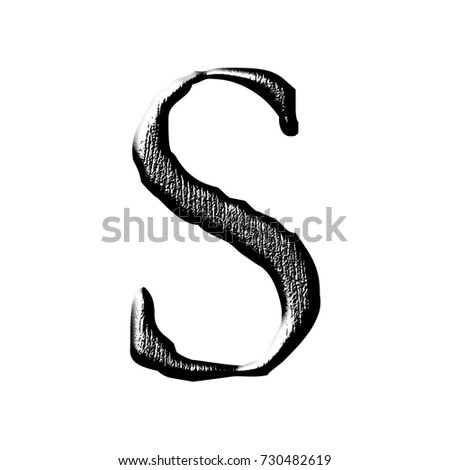 Black wood grain style uppercase or capital letter S in a 3D illustration with a dark wooden texture and jagged edge font isolated on a white background with clipping path.