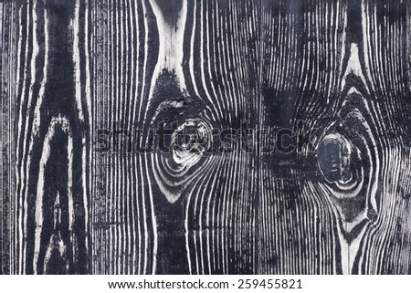 Black wood with knot texture. - stock photo