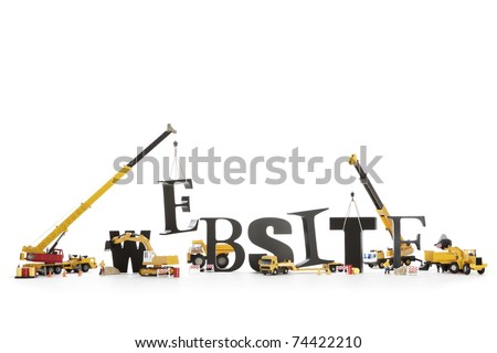 "Black wooden alphabetic letters set showing ""WEBSITE"" being set up by group of construction machines and workers symbolizing ""Website under construction"". - stock photo"