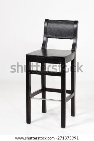 black, wooden bar stool, isolated on white background - stock photo