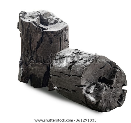 black wooden charcoal isolated on white background