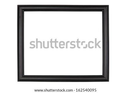 Black wooden frame, isolated on white background - stock photo