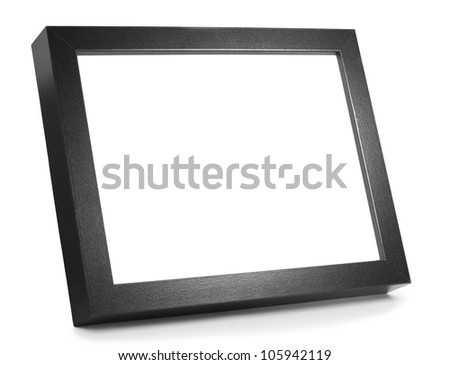 Black Wooden Picture Frame on shiny desk with space for copy - stock photo