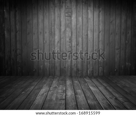 Black wooden room as a background