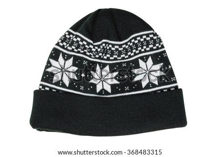 Black wool beanie hat cap perfect for winter weather isolated on white background. - stock photo