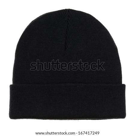 Black wool winter cap