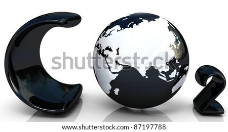 black word CO2. Formula on white background - stock photo