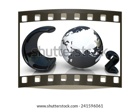 black word CO2. Formula on white background. The film strip - stock photo