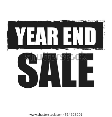Black Year End Sale Infographics Sign or Icon Isolated on White Background