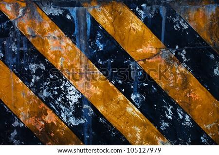 Black Yellow Hazard Stripes - stock photo