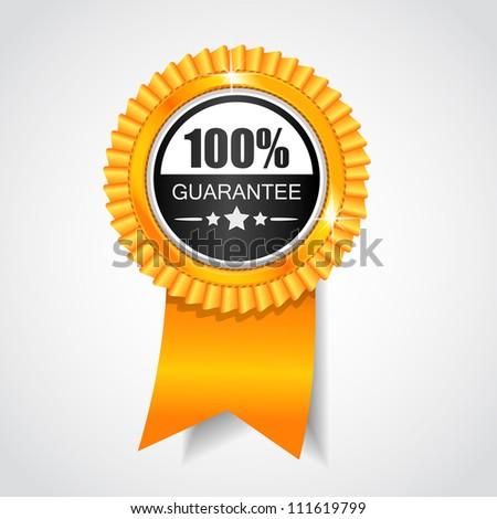 Black & Yellow label. 100% Guarantee. - stock photo