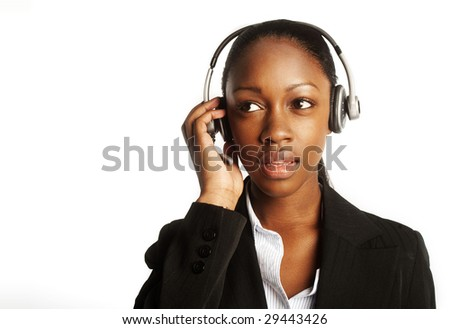 black young a customer service representative headshot portrait with her headset on ready to work - stock photo