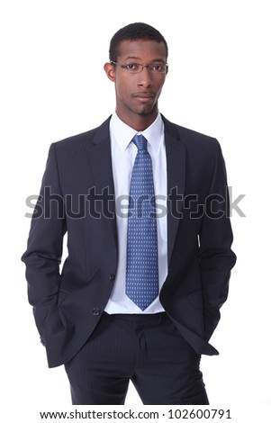 Black young businessman - stock photo