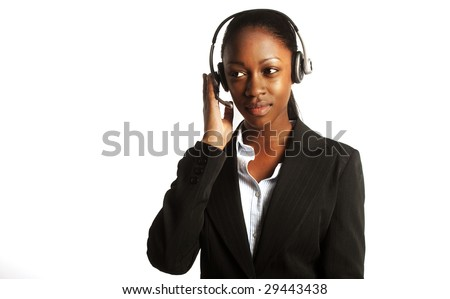 black young  customer service representative headshot portrait with her headset on working - stock photo