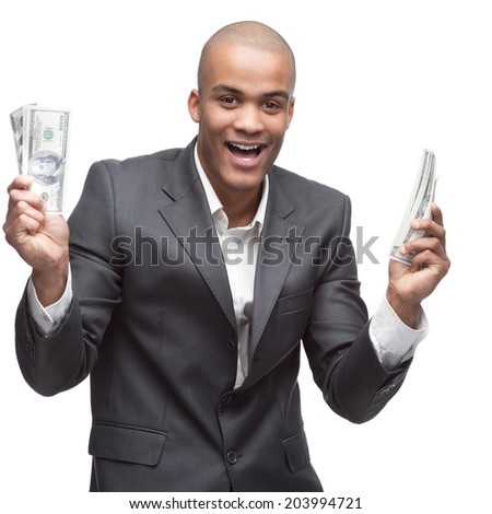 black young screaming businessman in gray suite holding money isolated on white