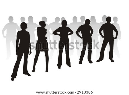 Black youth silhouettes on white background.