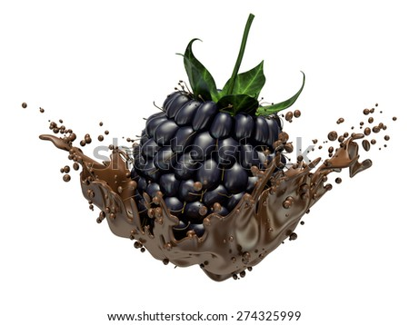 blackberries dipping into chocolate with splashes - stock photo