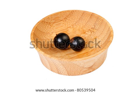 Blackberries in a wooden bowl - stock photo