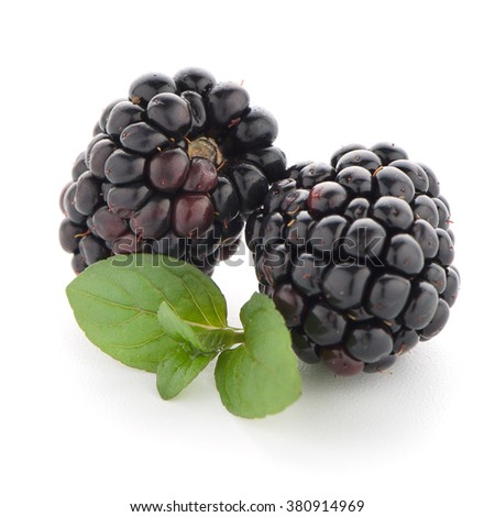 Blackberries with leaves isolated on white background. - stock photo