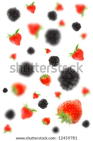 Blackberry and strawberry. Isolation on white