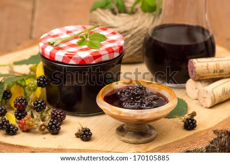 Blackberry confiture with red wine - stock photo